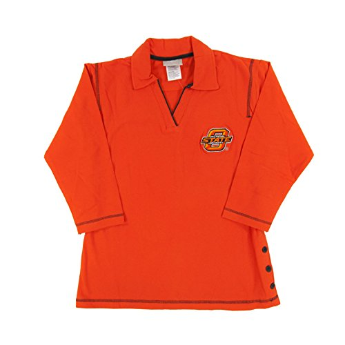 Oklahoma State University Broncos Logo Athletic Orange V-Neck Rugby Shirt (Womens Medium