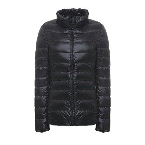 Caldo Ultra Inverno Packable Alla Leggero Piumino Collo Donna Nera Elonglin Elegante Antivento Coreana Giù Cappotto qHETwPP
