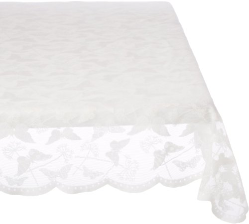 LORRAINE HOME FASHIONS Butterfly Lace Tablecloth, 60 by 84-Inch, Cream]()