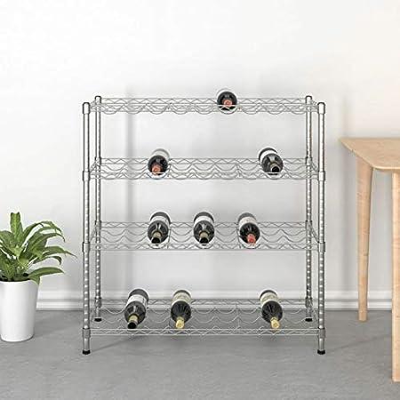 Tidyard Elegante vinoteca de Metal Botellero de 4 Niveles para 36 Botellas Hierro Cromado