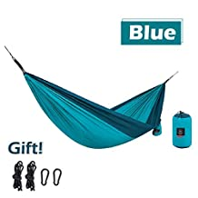 Triwonder Single & Double Camping Hammock - Lightweight Portable Pongee Parachute Hammock with Ropes and Carabiners for Camping, Outdoors, Backpacking, Travel