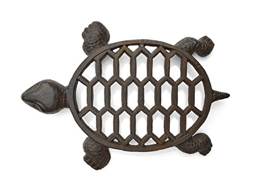 Gasare, Cast Iron Trivet, Turtle Trivet, Teapot Trivet, Turtle Decoration, for Hot Dishes, Made of Cast Iron with Rubber Covers, Antique Rust Brown Color, Size Around 12 Inches x 9 Inches, Amount 1