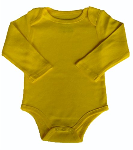 Yellow Buzz Babyware Unisex Vivid Color, Long Sleeve Onesie (9m) Yellow Long Sleeve Onesie