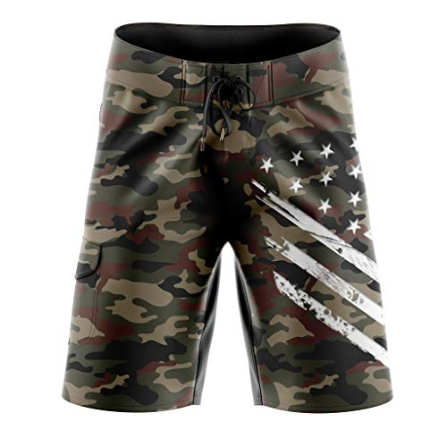 Camo Military Shorts - Tactical Pro Supply Desert Camo Military Flag Board Shorts - 32