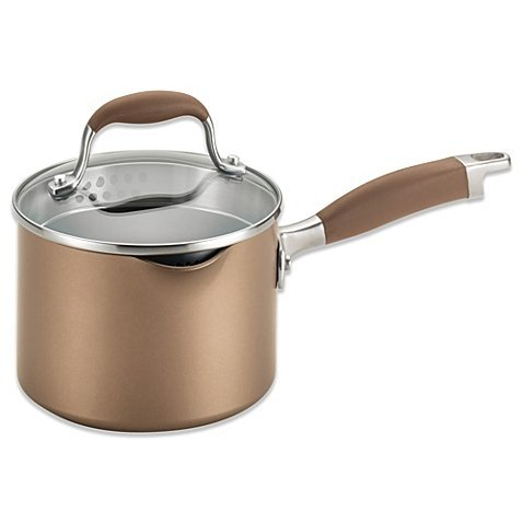 Anolon Advanced Bronze Hard Anodized Nonstick 2-Quart Covered Straining Saucepan with Spout