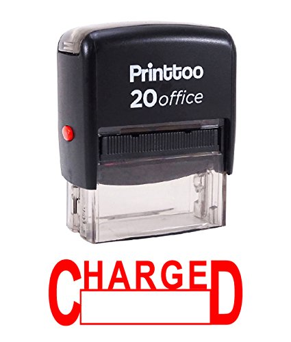 Printtoo Rubber Stamp Office Stationary CHARGED Self Inking Custom Stamp-Red