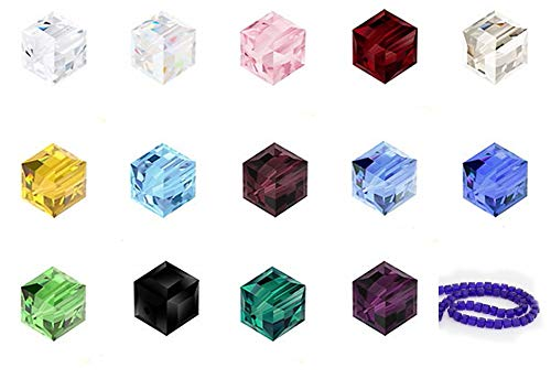 Creative Club Wholesale Mix Lots 300pcs 8mm #5601 Cube Crystal Beads with Container Box (300pcs) CCS9 ()