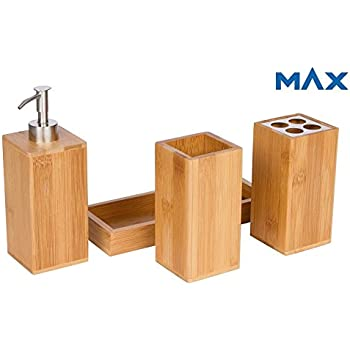 bamboo vanity caddy bath countertop organizer set soap pump toothbrush holder stainless steel finish removable ceramic interior hand made modern