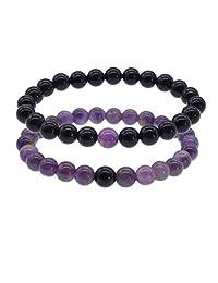 Zhepin 8MM Amethyst Rose Quartz Lava Stone Couples Gemstone Bracelet for Women Men Energy Healing Stone