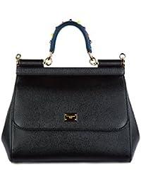 Dolce&Gabbana women's leather handbag shopping bag purse sicily dauphine black