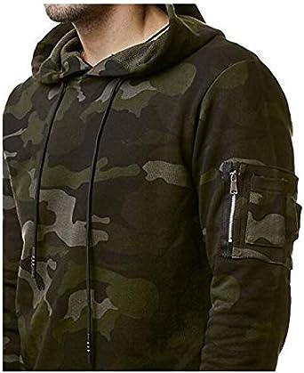 Mens Warm Hoodie Hooded Camouflage Sweatshirt Pullover Coat Tops Jacket