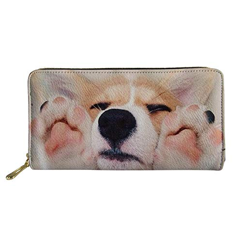 - HUGS IDEA Large Capacity Wallet Welsh Corgi Pembroke Dog Card Holder Clutch for Girls