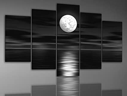 zartsy 100 hand painted abstract landscape black sea white full moon night artwork home wall