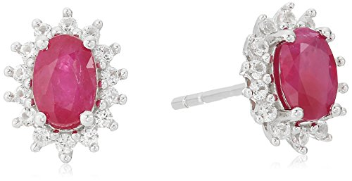 Sterling Silver Genuine Ruby And Created White Sapphire Oval Halo Stud Earrings (Ruby Genuine Sapphire)