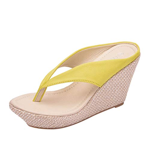 FengGa Women's Wedge Flip Flops Fashion Casual Outside Slippers Shoes Thong Style Flip Flops for Comfortable Walk Yellow