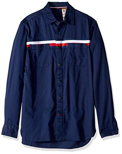 Tommy Hilfiger Men's Adaptive Magnetic Long Sleeve Button Down Shirt Custom Fit, Flag Stripe Blue, Large