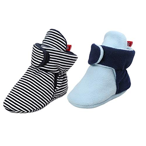 (Tutoo Unisex-Baby Newborn Fleece Bootie Infant Boys Girls Winter Warm Cotton Slippers Soft First Walkers Shoes (4.7 inches(6-12 Months), 2 Pairs(Black+Blue)))