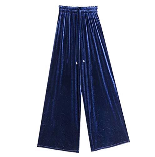 Donna Blu Larghi Pantaloni Dimensione Donna L Alta Invernali Vita a Colore Blu FuweiEncore Eleganti fEC4qqw