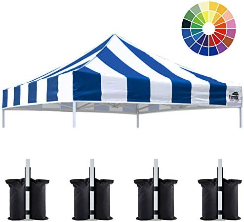 Eurmax New 10×10 Pop Up Canopy Replacement Canopy Tent Top Cover, Instant Ez Canopy Top Cover ONLY, Choose 30 Colors Stripe Blue