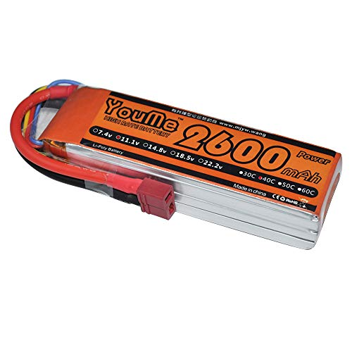 Youme 3S Lipo Battery Pack 2600mAh 11.1V 40C with Deans T Plug for Hubsan H501S,Trx-450 Fixed-Wing RC Airplane ,RC Helicopter ,Quadcopter,UAV,FPV,Drone,Multirotor(4.53 x 1.34 x 0.98 in 0.43lb) ()