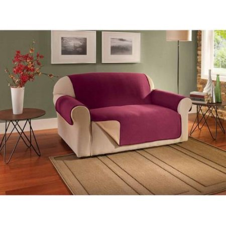 Innovative Textile Solutions Waterproof Reversible Fleece Sofa Protector (Burgundy) Ballard White Headboard