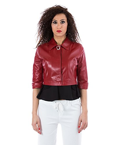plong veste cuir VERA courte rouge couleur D'Arienzo en v0zwq