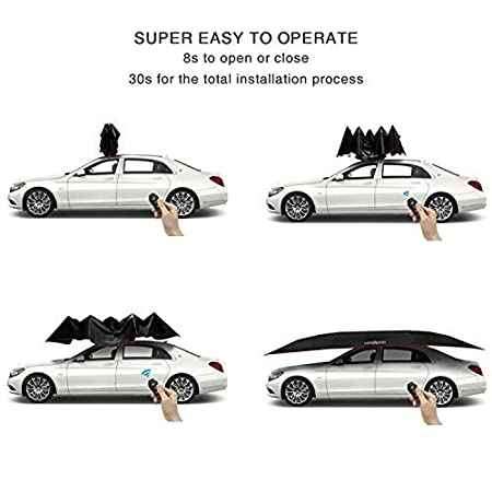 LANMODO Pro Semi-auto Car Tent Movable Carport Folded,Car Umbrella Tent with Anti-UV,Water-Proof Hail 4.8M Semi-auto Without Stand, Black Proof Wind Falling Objects 188.97X90.5 inch Storm Snow