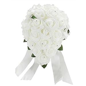 Vlovelife Wedding Bouquet White PE Rose Flowers Bridal Bridesmaid Bouquets Artificial Flower Satin Ribbon Decor Handmade Posy Pearl Rhinestone Plant Leaf Vine Decor 118