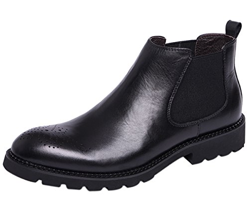 Santimon Chelsea Boots Men Brogue Perforated Modern Classic Dress Leather Ankle Boots Casual Shoes by Black 6.5 D(M) US (Speedlace Black Leather Combat Boots)