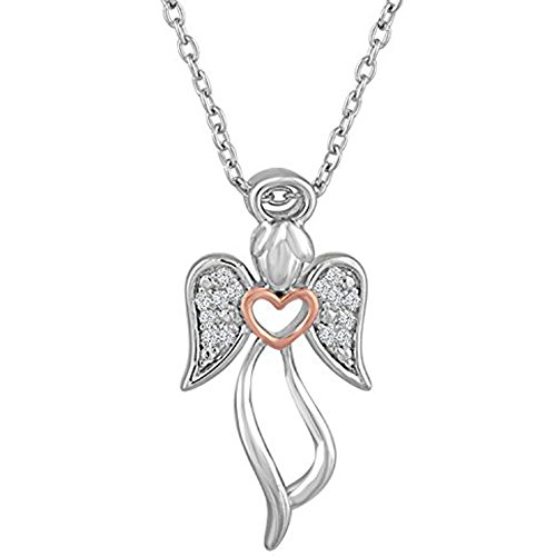 diamond-accent-sterling-silver-angel-with-rose-gold-accent-pendant-16-18-adjustable-chain