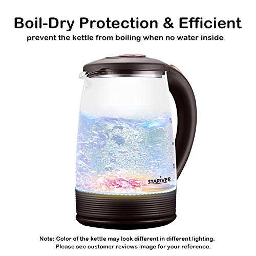 Stariver Electric Kettle Glass Tea Kettle Heater, 2 Liter Large Capacity with LED Light, Auto Shut-Off and Boil-Dry Protection, Stainless Steel Inner Lid and Bottom, Brown (See Customer Reviews Image)