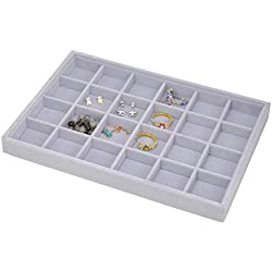 Stackable Grey Velvet Jewelry Tray Showcase Display Storage Organizer Functional