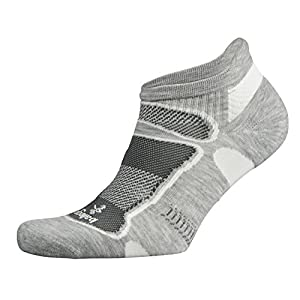 Balega Ultralight No Show Athletic Running Socks for Men and Women (1-Pair), Grey/White, Medium
