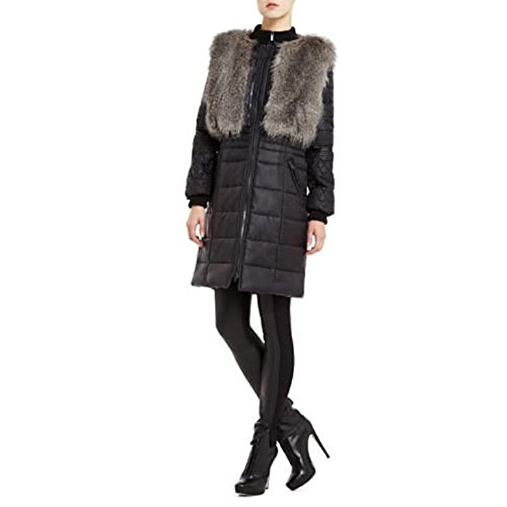 Bcbgmaxazria Maxazria Quilted Black Bcbg Vest Jacket Faux Fut Waw68R4qf