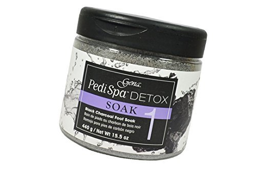 Gena PediSpa Detox SOAK Black Charcoal Assorted Luxurious mask enriched with black charcoal coats the skin with a luxurious formula - Size 15.5 oz / 440 - Foaming Soak Invigorating Foot