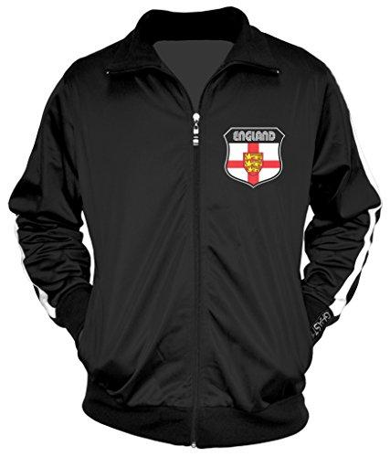 - Amdesco Men's English Pride, England Track Jacket, Black w/One Stripe 3XL