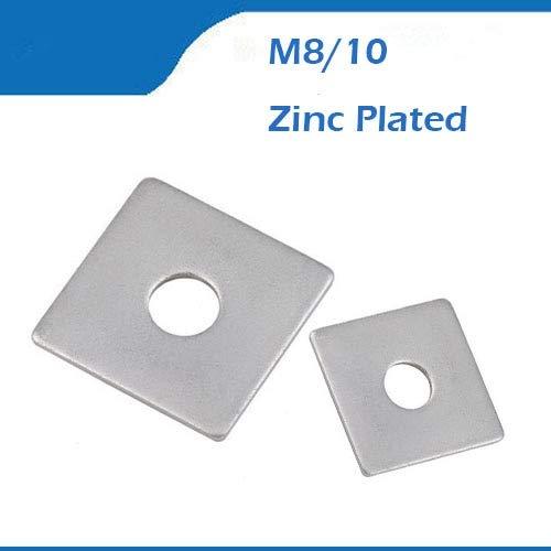 Ochoos M8 M10 Zinc Plated Galvanizing Carbon Steel Square End Gasket Ring Cushion Split Lock Washer - (Inner Diameter: M10 x 40 x 2.5mm)