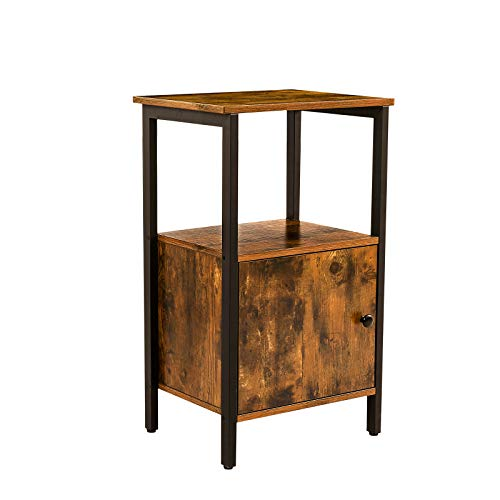 HOOBRO Side Table, End Telephone Table with Storage Cabinet, Printer Stand, Wooden Accent Table, for Living Room, Bedroom, Office, Hallway, Stable and Sturdy Construction, 17.7
