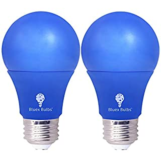 2 Pack BlueX LED A19 Light Bulb - 9W (60Watt Equivalent) - E26 Base Blue LED Blue Bulb, Party Decoration, Porch, Home Lighting, Holiday Lighting, Decorative Illumination (Blue)