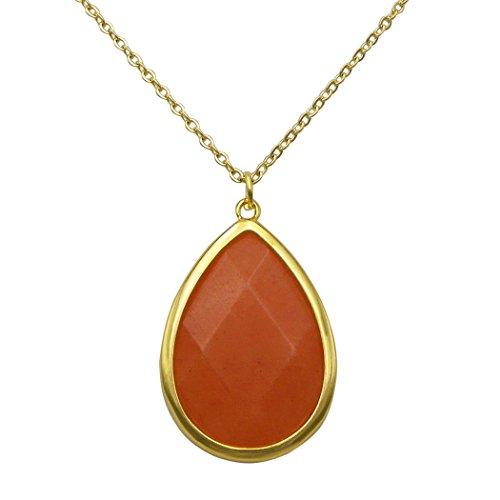 Orange Jade Necklace (Rosemarie Collections Women's Teardrop Shape Natural Stone Pendant Necklace (Orange Jade))