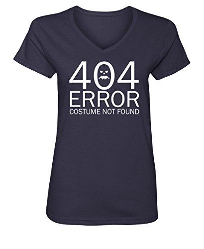 Tenacitee Women's 404 Costume Not Found V Neck T-Shirt, 2X-Large, Navy (Nerdy Girl Costume Ideas)