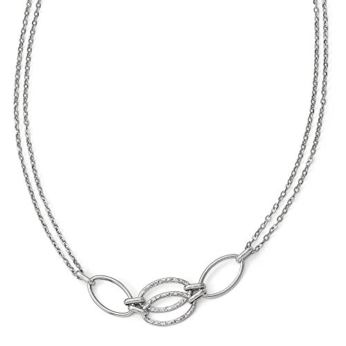 Leslie's Real 14kt White Gold Polished Double Strand Link Necklace ()