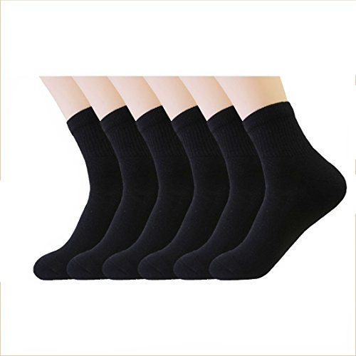 Blank & Black Men's Cotton Half Cushion Training Athletic 360 Arch Endurance Ankle Socks, Pack of 6 (10-13/Shoe: 6-12, Black)
