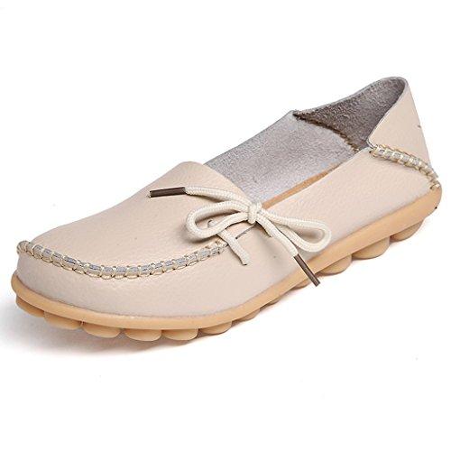 Oriskey Mocasines de cuero mujer Loafers Casual Zapatos Zapatillas Beige