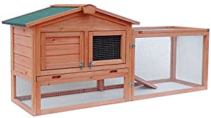 Merax Pet Rabbit Bunny Wood House Hutch with Tray, Natural Color