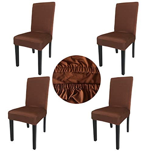 Gold Fortune Spandex Fabric Stretch Removable Washable Dining Room Chair Cover Protector Seat Slipcovers Set of 4 (Coffee)
