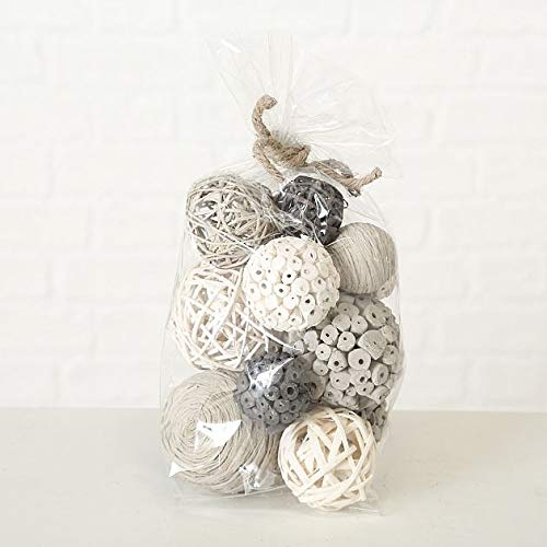 Home Collection Maison Ameublement D/écoration Int/érieur Set de 2 Pots pourris Blanc Gris Nature