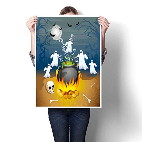 SCOCICI1588 DIY 3D Painting,of Ghost from Cauldron in Halloween Background Home Wall Decor,28