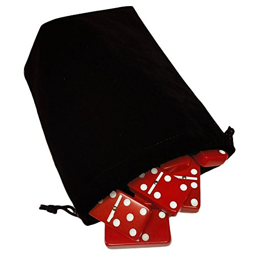 (Domino Double Six 6 Red Tiles Jumbo Tournament Professional Size with Spinners in Black Elegant Velvet Bag)
