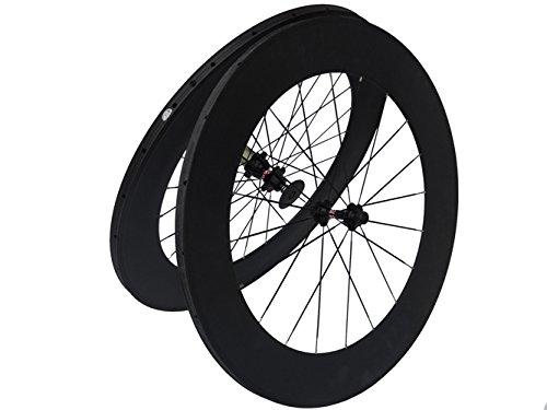フルカーボンマットロードバイク自転車Tubular Wheelsets 88 mmスポークハブfor Shimano 8 / 9 / 10 / 11s B00N31WPHE